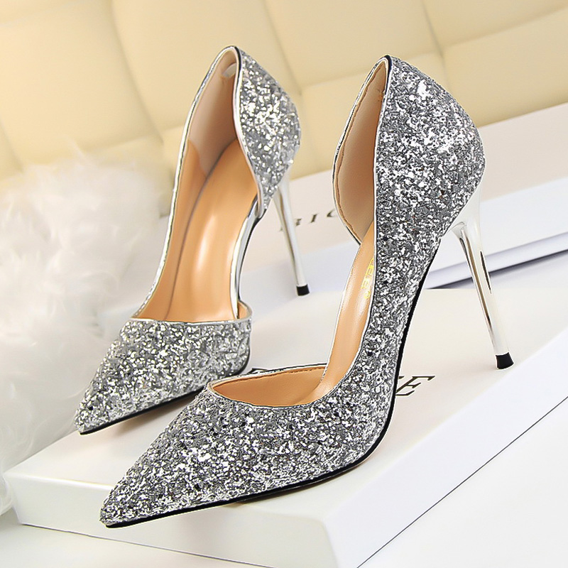 Wedding Bridal Heels: LAKESHI Women Pumps Bling High Heels Women Pumps Glitter