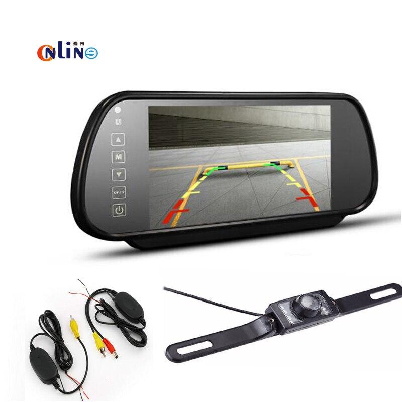 Car electronics 7 HD LCD Car Mirror Monitor+Wireless Car Reverse Rear View Backup Camera Night Vision rear view camera