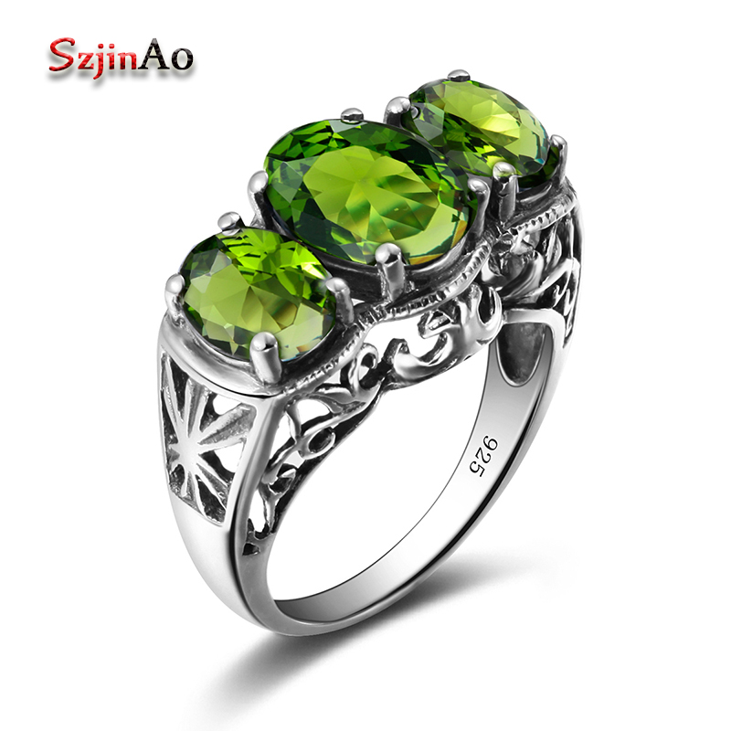 Szjinao Women Peridot Ring Vintage Olivine Stone Oval Cute Solid 925 Sterling Silver Engagement Wedding Party Jewelry Wholesale(China)