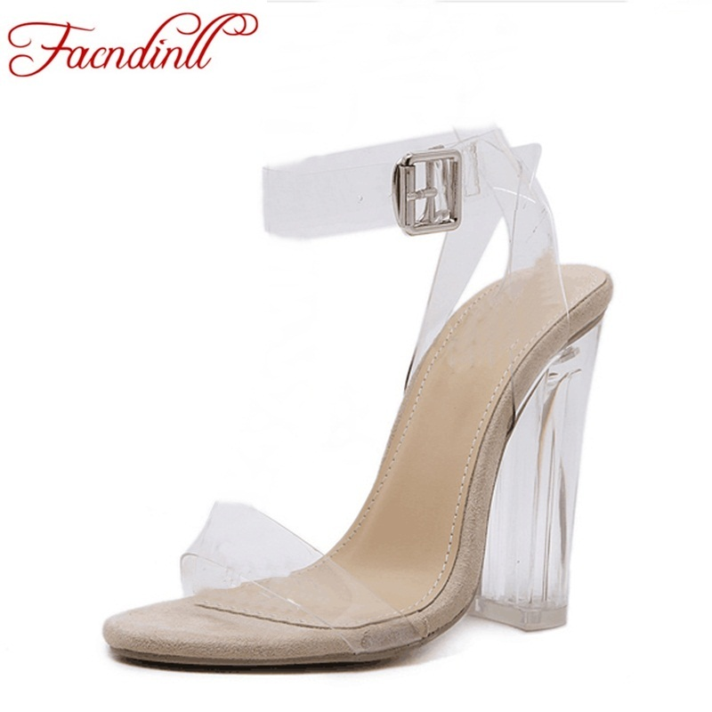FACNDINLL new women gladiator sandals ladies sexy high heels shoes woman clear transparent ankle-strap party wedding dress shoes new women gladiator sandals ladies pumps high heels shoes woman clear transparent t strap party wedding dress thick crystal heel
