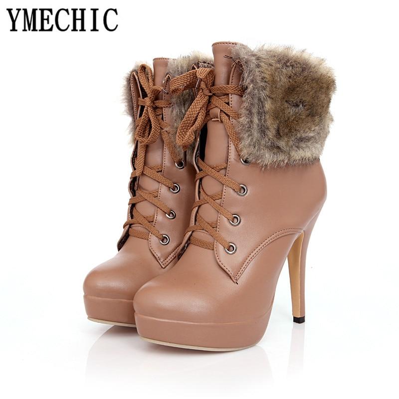 Femmes Sexy D hiver forme 2018 Up Ymechic Talons Croix Cheville Punk Bottes  marron Dentelle Chaussures De Fourrure Plate Haute Gland Mince Xingse Liée  ... 692a44141f25