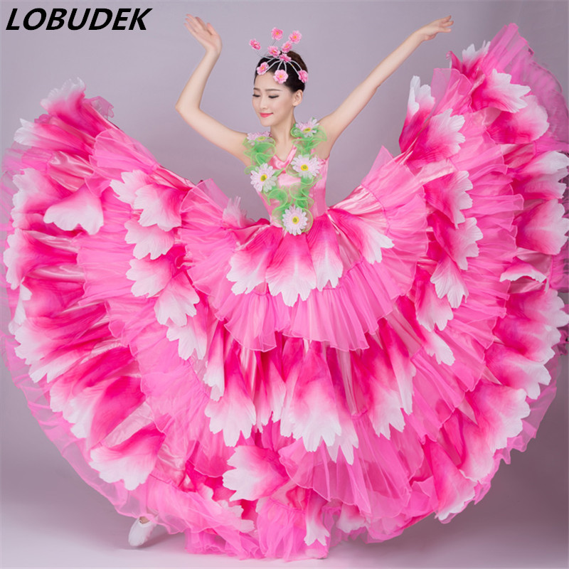 Petal flower stage skirt sexy long dress female costume singer dancer nightclub bar fashion show performance
