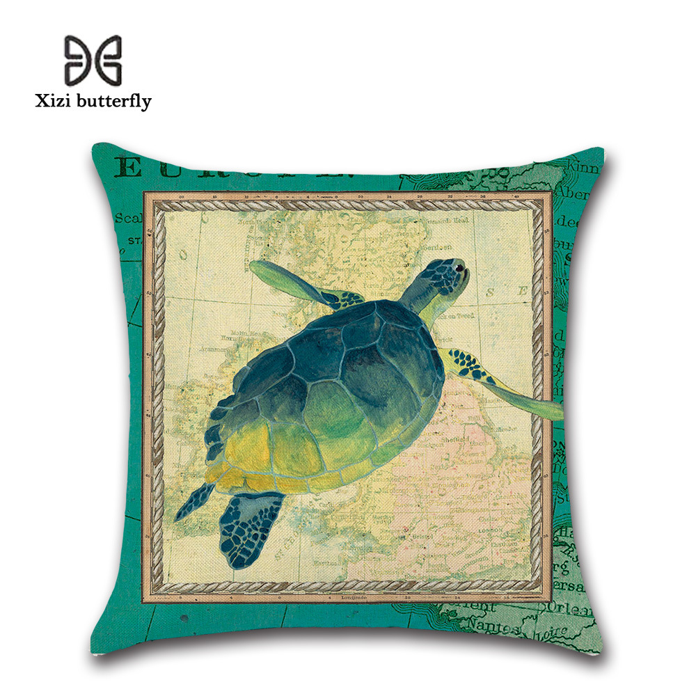US SELLER-set of 2 marine nautical ocean life turtle cushion cover throw pillows