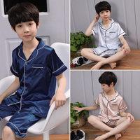 Summer Style Kids Boys Top Shirt Shorts Pajama Set Infant Children Silk Pajamas Nightwear Sleepwear Clothing
