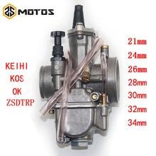 ZS MOTOS 2T 4T Universal Keihi Motorcycle Carburetor Carburador 21 24 26 28 30 32 34mm With Power Jet For Racing Motor