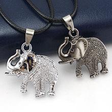 Elephant Pendant Necklace for Men Women Cute Small Love Dog Vintage Retro Black Silver Boho Chain Best Friends Trendy Jewelry