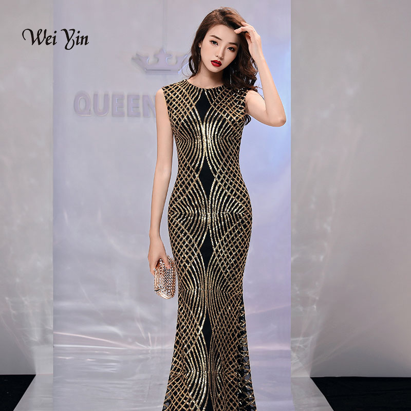 weiyin Gold Sequined Mermaid Evening Dresses See Through O Neck 2019 New Arrival Floor Length Long Party Dresses for Women WY971