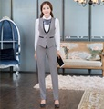 Novelty Grey Formal Uniform Design Spring Summer Work Wear Suits With Vest And Pants Professional Ladies Trousers Set Pantsuits