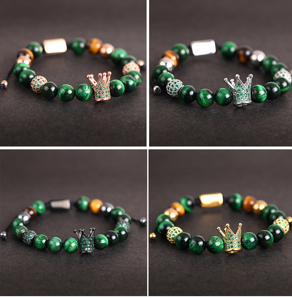 HTB1GLD6MOLaK1RjSZFxq6ymPFXao Crown Ball Pave Setting Zircon Beads Braided Bracelet Bangle Jewelry