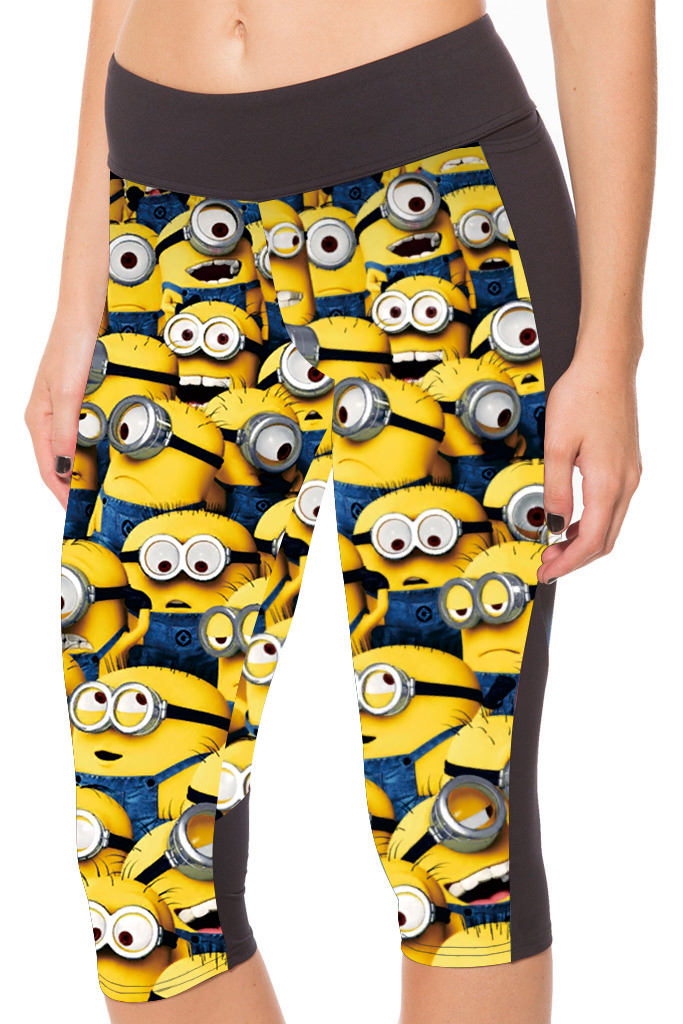 2016 New Arrival 3 Patterns Cartoon Minions Printing Yellow Capris Leggings For Women Active Jogging Pants