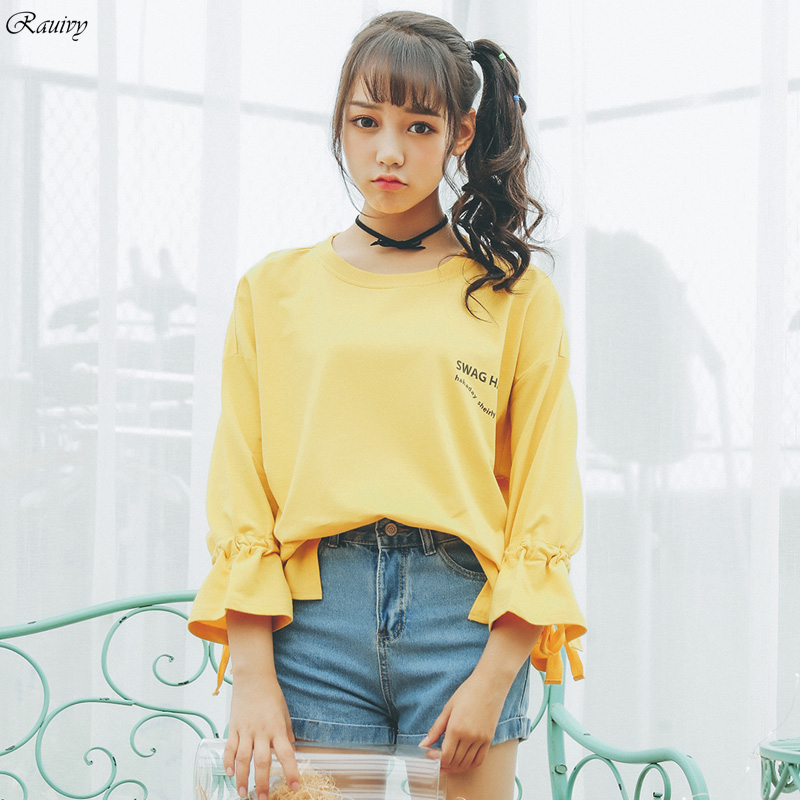 summer 2019 harajuku sweatshirt women korean spring fashion sweet trend  printing letters swag haha tie butterfly bts hoodies,in Hoodies \u0026  Sweatshirts from