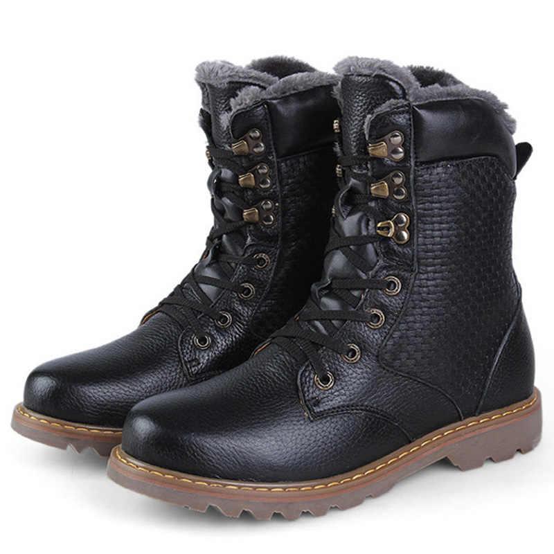 REETENE 2020 sıcak kış erkek botları hakiki deri el yapımı erkek kar botları erkekler için yüksek kaliteli peluş çizmeler şişeler hommes