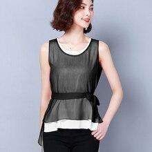 shintimes Fake Two Pieces Blouse Chiffon Korean 2019 Summer Tops Sleeveless Shirts Women Sashes Woman Clothes Chemisier Femme