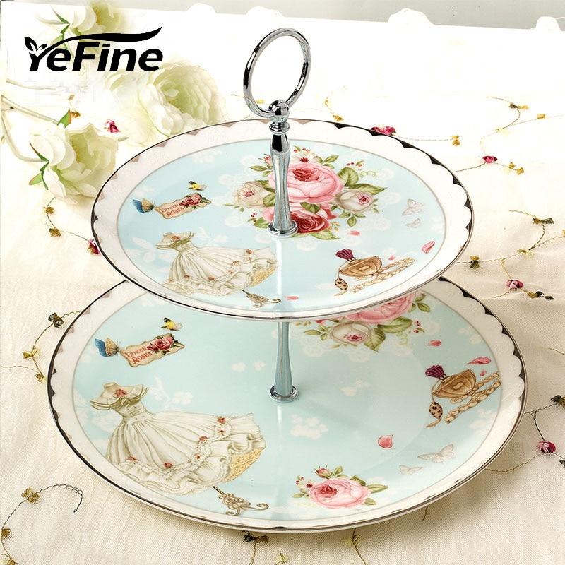 YeFine Bone chine Double-couche plats et assiettes Set Snack Stand titulaire de luxe porcelaine gâteau pâtisserie fruits plat en céramique plateau