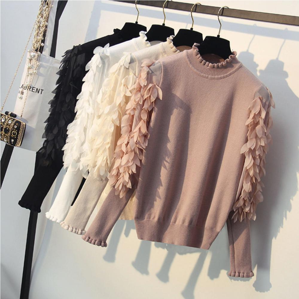 Half-high Collar Sweater Women's Head Loose Autumn And Winter Mesh Leaf Mosaic Lantern Sleeve Sweater B Ottoming Sweater