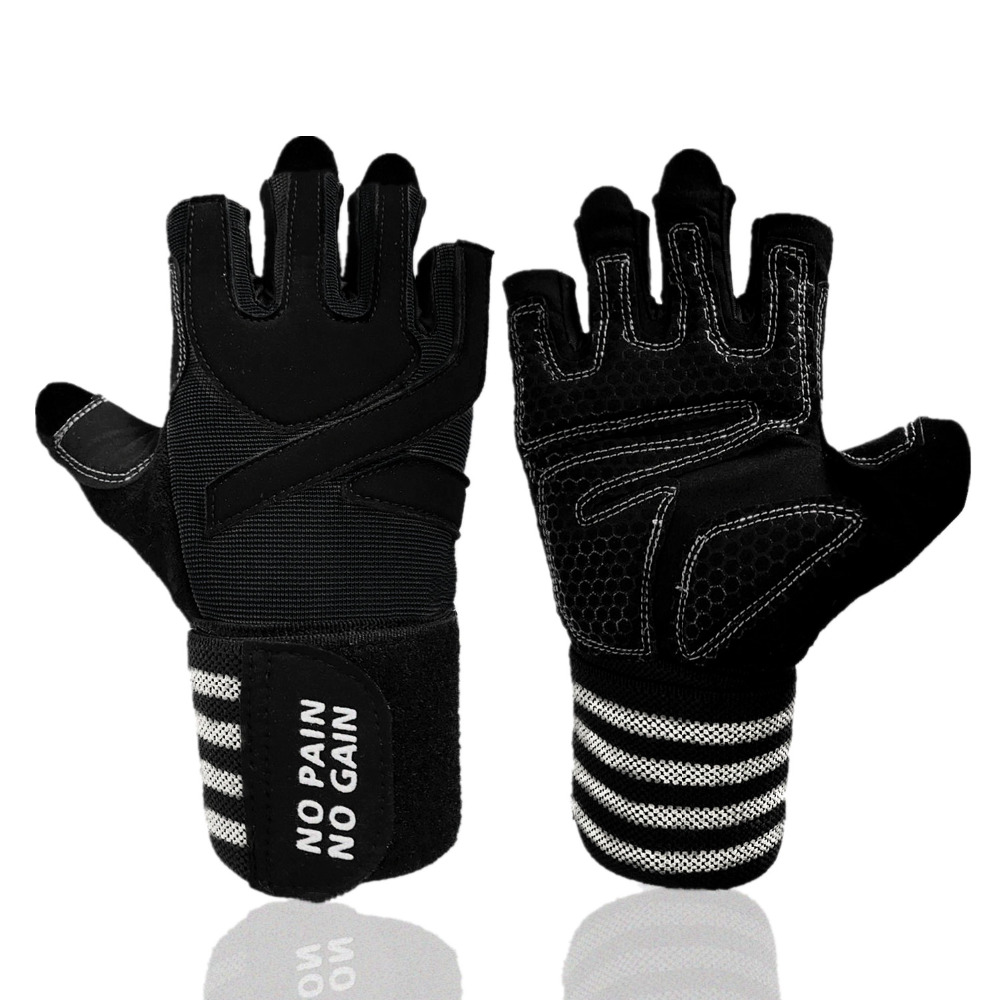 Fitness Gloves Men Women Pair Weight Lifting Gloves Belt Breathable Gym Sports Heavyweight Body Building Training Gloves S M L in Fitness Gloves from Sports Entertainment