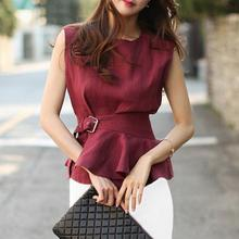 2018 Women Fashion Shirts O-neck Sleeveless Belted Peplum Blouse Elegant Chic Red Summer Top Femme Chemise High Quality