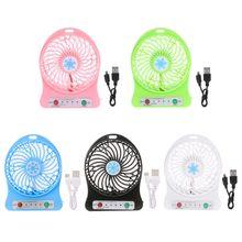 Free_on 1PC Portable Mini LED Light Air Cooler Fan USB Desk Fan Third Wind USB Fan