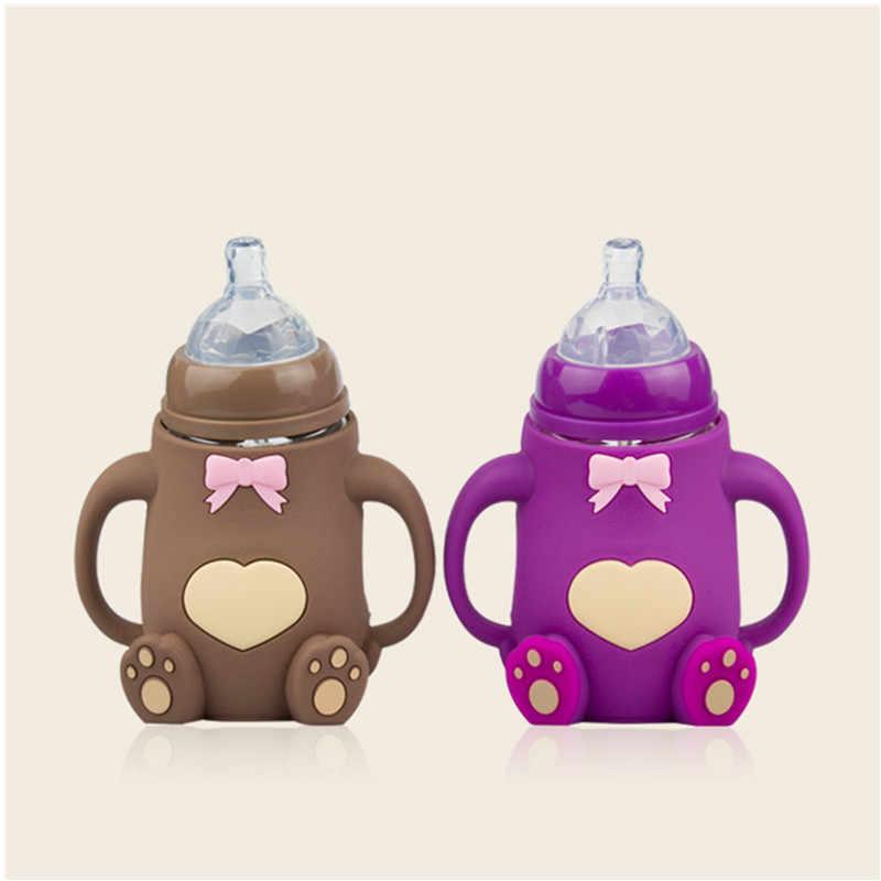260ml Newborn Baby Feeding Bottle Cute Cartoon Monkey Baby Bottle Wide Mouth Glass Feeding Bottle With Handle Silicone Case Aliexpress