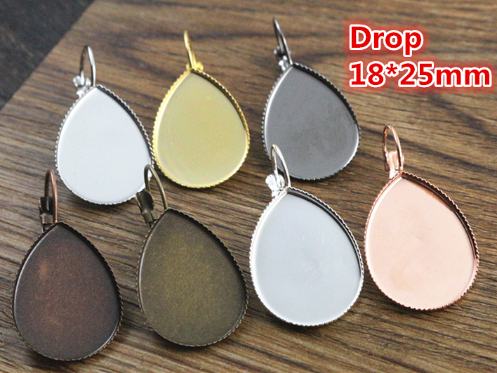 18x25mm 10pcs 8 Colors plated French Lever Back Earrings Blank/Base,Fit 18*25mm Drop glass cabochons;Earring bezels mibrow 10pcs lot stainless steel 8 10 12 14 16 18 20mm blank french lever earring tray cabochon setting cameo base jewelry