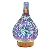 2019 Drop Shpping Fireworks Pattern 3D Glass Aroma Diffuser Air Humidifier Portable Fashion Airpurifier Gifts Car Ultrasonic