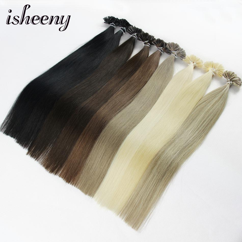 """Isheeny 14"""" 18"""" 20"""" 22"""" 24"""" Remy Fusion Hair Extensions Straight 50pc 100pc Nail/U Tip Human Hair Extension 11 Colors"""
