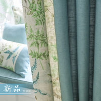 Linen Home Curtains For Living Room Blue Blackout Thermal Drapes Fabric Rustic Bedroom Window Panels Custom Insulated Blinds New