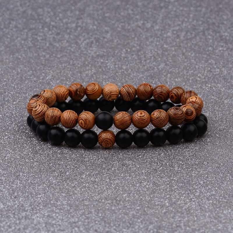 Amader Couples Distance Bracelet Natural Wood Stone White And Black Yin Yang Beaded Bracelets For Men Women Best Friend AB241