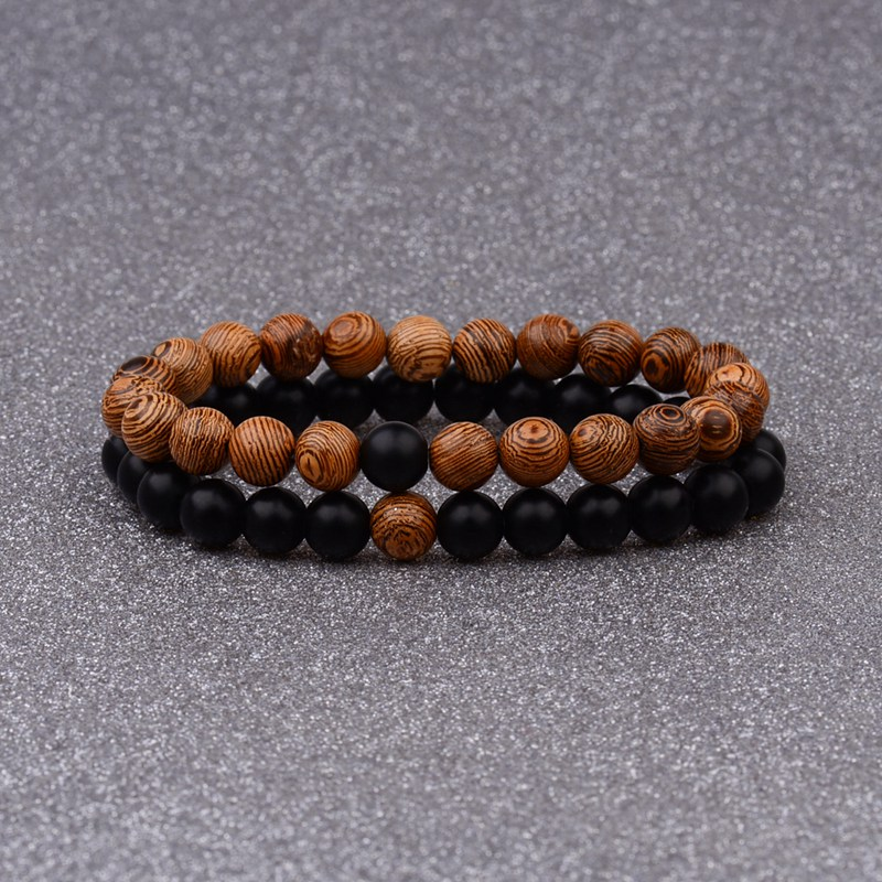 Couples Distance Bracelet Natural Wood Stone White And Black Yin Yang Beaded Bracelets For Men Women Best Friend AB241