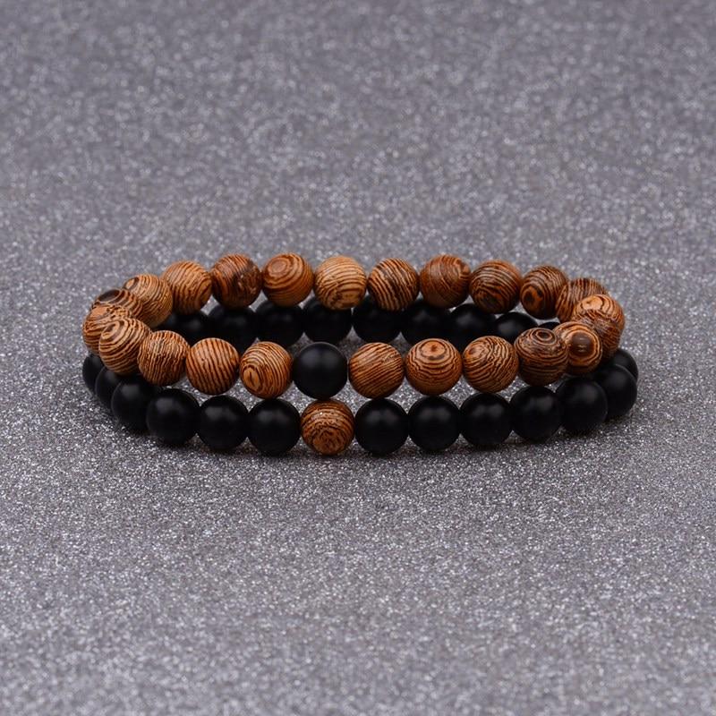 Couples Distance Bracelet Natural Wood Stone White And Black Yin Yang Beaded Bracelets For Men Women Best Friend AB241