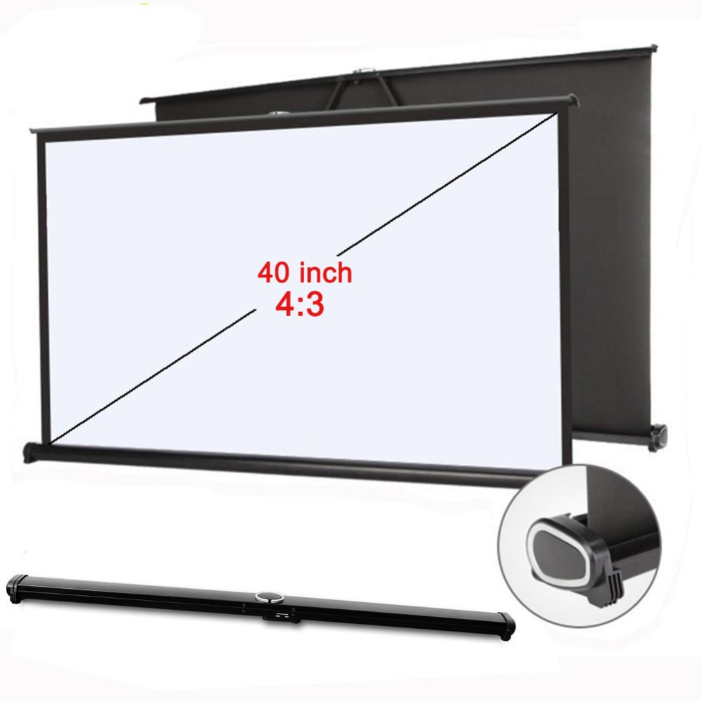 High Quality 4:3 hd screen for projector portable folded Home Theater self adhesive film Table screen 40 inch