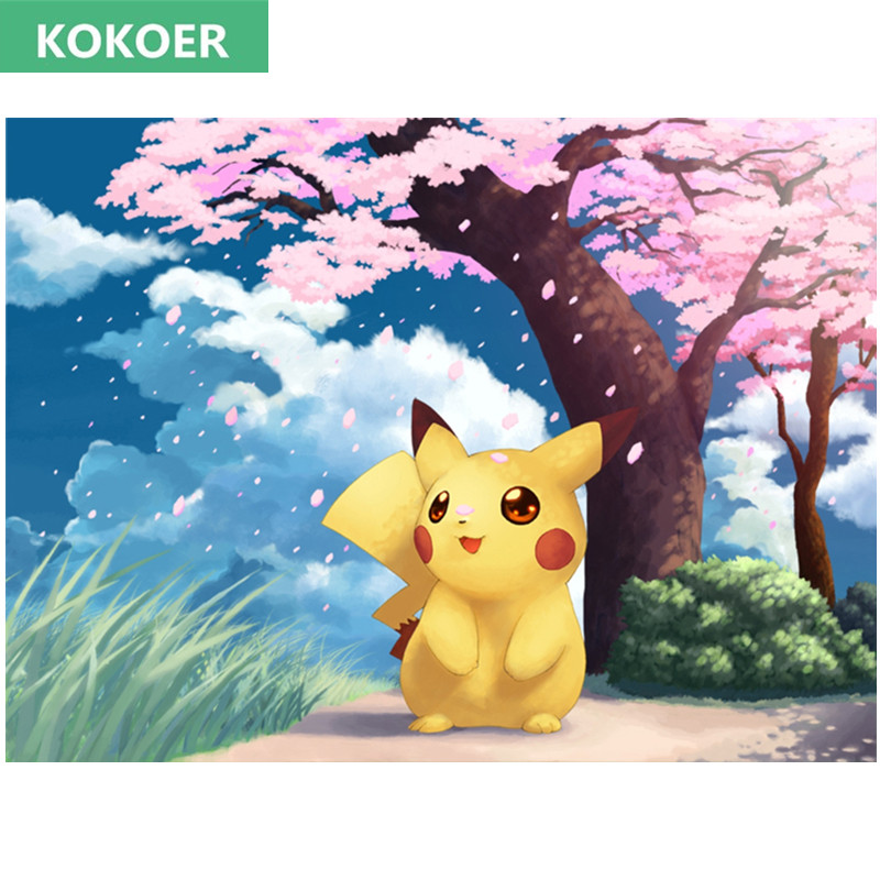 Full Rhinestone Painting Crystal Home Decor 5D DIY Diamond Painting Cartoon PokeMon Cross Stitch Pattern Cherry blossoms