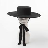 2019 Autumn winter wool fedora hat ladies wool felt black hat winter hat with ties winter wool hats for women