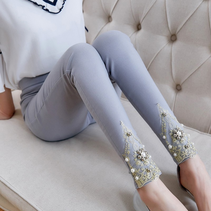 New 2019 Spring Summer Women 39 s Elastic Waist Pants White Black Lace Casual Skinny Pencil Ankle Length Pants Plus Size S 3XL in Pants amp Capris from Women 39 s Clothing