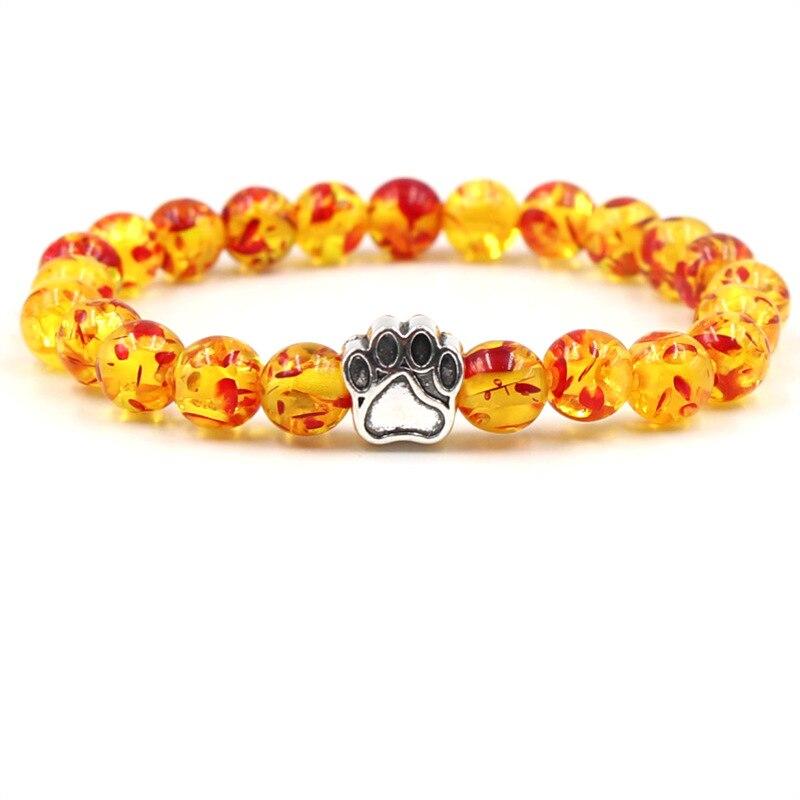Moda Quatro Animais Paw Beads Charme Pulseiras Mulheres Homens Clássico 8 MM Pedra Natural Elástico Pulseira Da Amizade Jóias Unisex