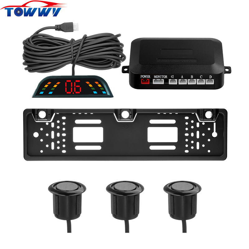 OEPZ303 L LED European Car License Plate Reversing System 3 Parking Sensors With BiBi Alarm Sound