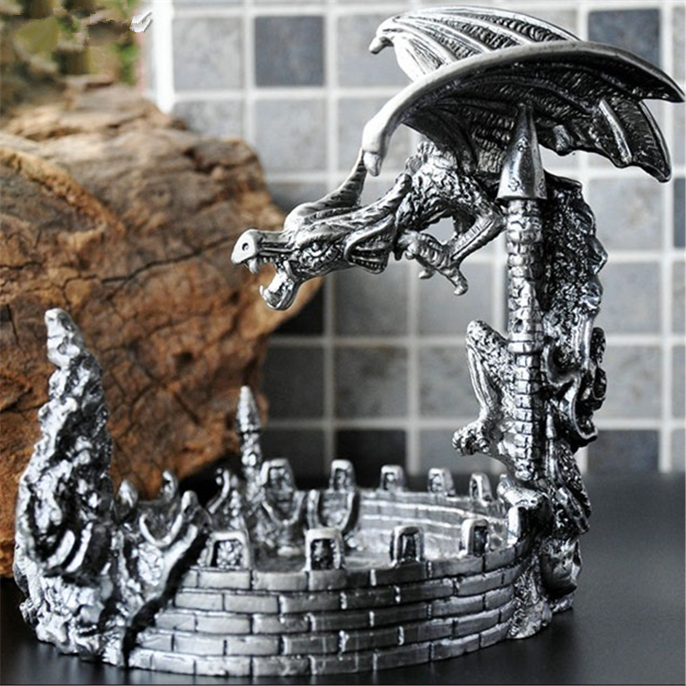 High Quality Ashtray European Dragon Shape alloy Ashtray Home Office Desk Decoration полка для авто ashtray led 4s