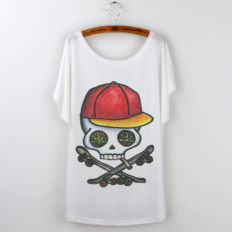 2017 New Rushed Camisetas Blusa Fashion Skull Harajuku Summer Tops T-shirt Women Tshirt Punk Rock Sleeve Tee Shirt Femme O-neck
