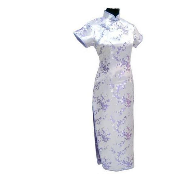 Новинка, длинное атласное женское платье чонсам, элегантное тонкое платье с высоким разрезом, традиционное платье ручной работы с пуговицами и цветами, Qipao, с коротким рукавом, Vestidos - Цвет: Flower 3