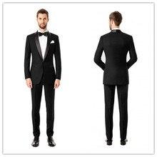 Neue Ankunft Sommer Stil 100% wolle klassische schwarz 2 stücke 2 taste mit satin revers hochzeit anzüge für männer