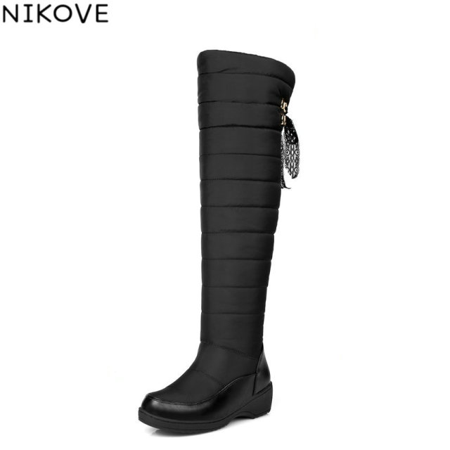 43c364663a02 NIKOVE 2018 Women Boots Wedges Med Heel Warm Down +Plush Snow Boots Winter  Ladies Over Knee High Boots Fashion Shoes Size 35-43