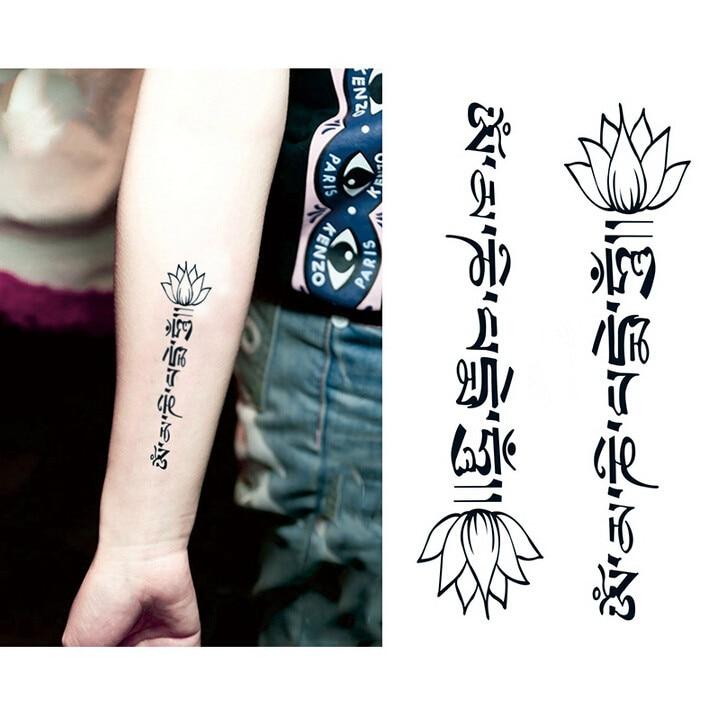 Waterproof Temporary Tattoo Stickers Cute Buddha Lotus Flowers