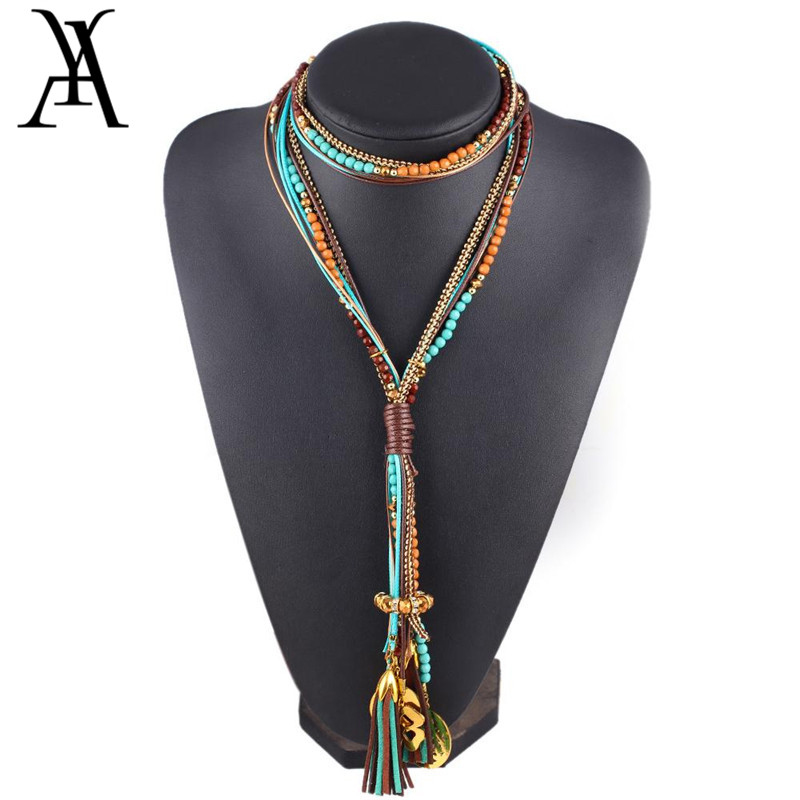 Ethnic Style Beads Necklaces For Women Fashion Multi Layer Long Tassel Necklace Bohemian Statement Necklaces Female Jewelry Gift