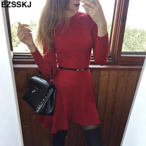 Image 5 - שיק סתיו חורף שחור סוודר שמלת נשים o צוואר ארוך שרוול קו עבה לסרוג מיני שמלה נשי ילדה קצר bodycon שמלה