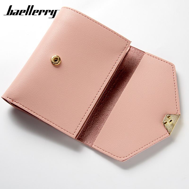 Fashion Short Wallet Solid Sweet Color Buckle Simple Casual Small Multifunction Multi Bits Casual Card Holder Wallets For Women