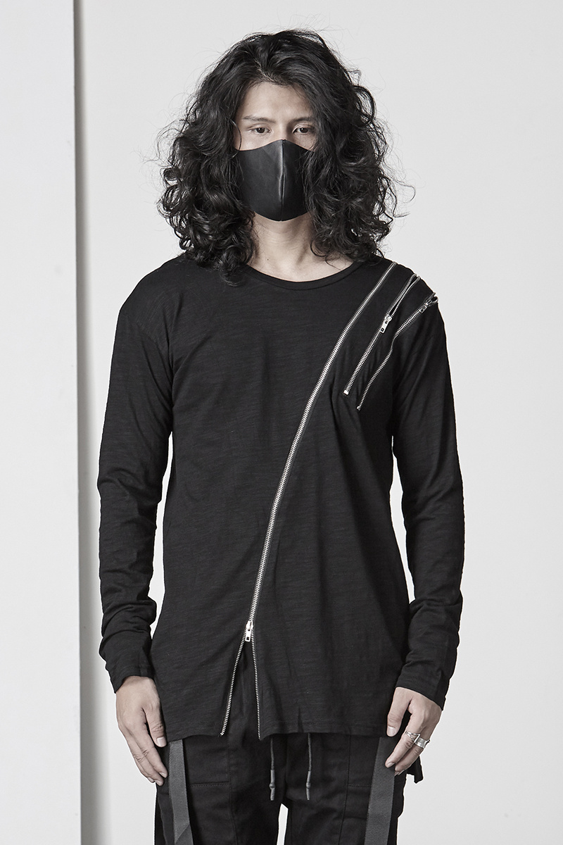 Асимметричная хлопковая футболка с длинными рукавами, Готическая мужская темно индивидуальная футболка с круглым вырезом, уличная Мужская футболка, мода 2018 - 6