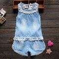 BibiCola 2016 малышей детей летние девочки одежда наборы кружева 2 шт. девочек летняя одежда набор цветок дети костюм набор