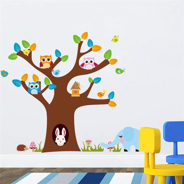 Live With Cute Owls Rabbit Wall Stickers Room Decorations 1022 Diy