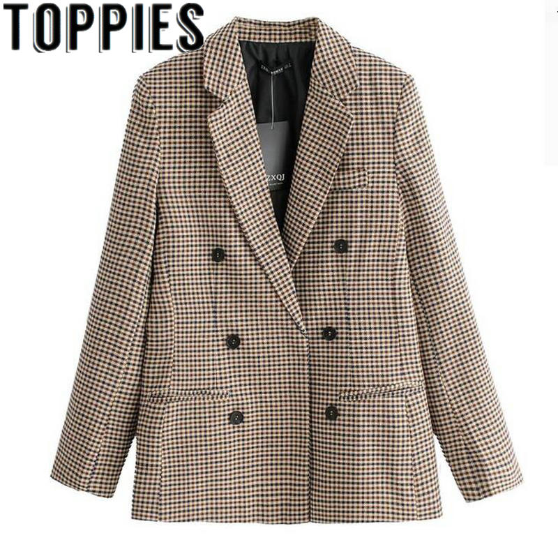 2019 Spring Women Blazers For Women Formal Office Lady Plaid Blazers Blaser Femeninos Veste Femme