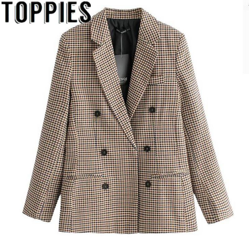 2019 Spring Women Blazers For Women Formal Office Lady Plaid Blazers Blaser Femeninos Veste Femme